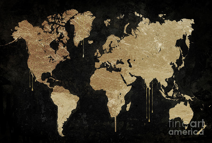 Gold world map painting by mindy sommers world map painting gold world map by mindy sommers gumiabroncs Gallery