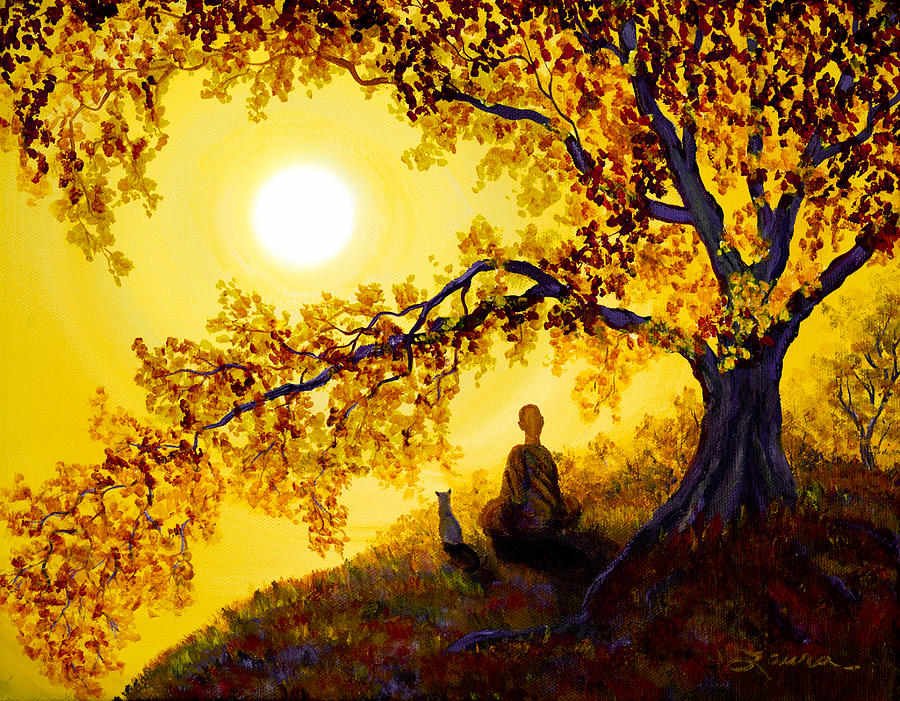 Zen Painting - Golden Afternoon Meditation by Laura Iverson