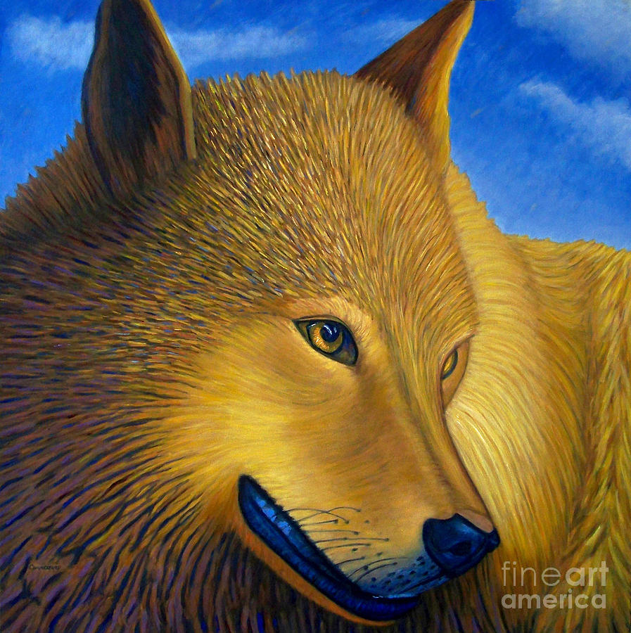 Wolf Painting - Golden Alpha by Brian  Commerford