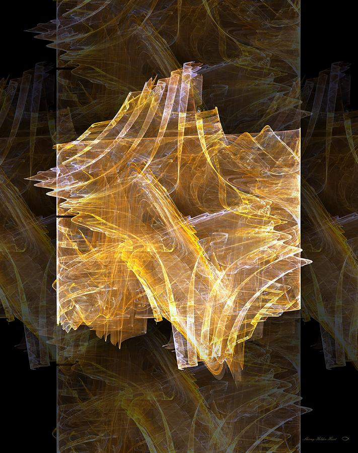 Abstract Digital Art - Golden Amber Light Show by Sherry Holder Hunt