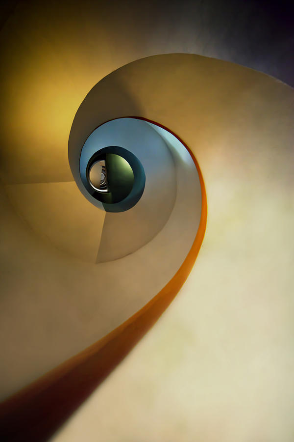 Spiral Photograph - Golden And Brown Spiral Staircase by Jaroslaw Blaminsky