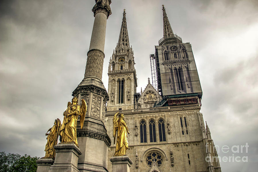 Angel Photograph - Golden Angel Statues In Front Of The Cathedral by Bratislav Stefanovic