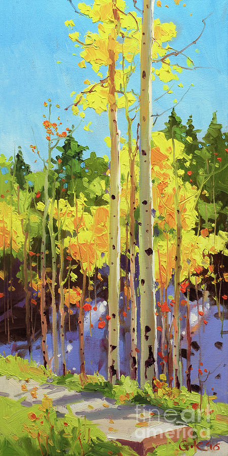 Golden Aspen in early snow Painting by Gary Kim