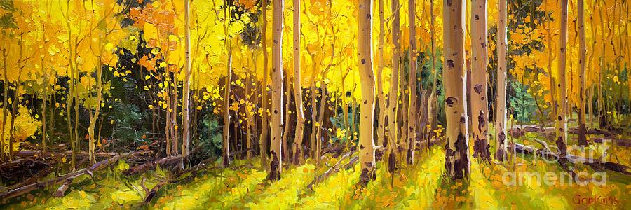 Golden Aspen in the Light Painting by Gary Kim