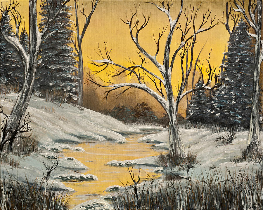 Winter Painting - Golden Birch Winter Mirage  by Claude Beaulac