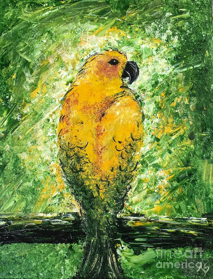 Bird Painting - Golden Bird by Norma Gafford
