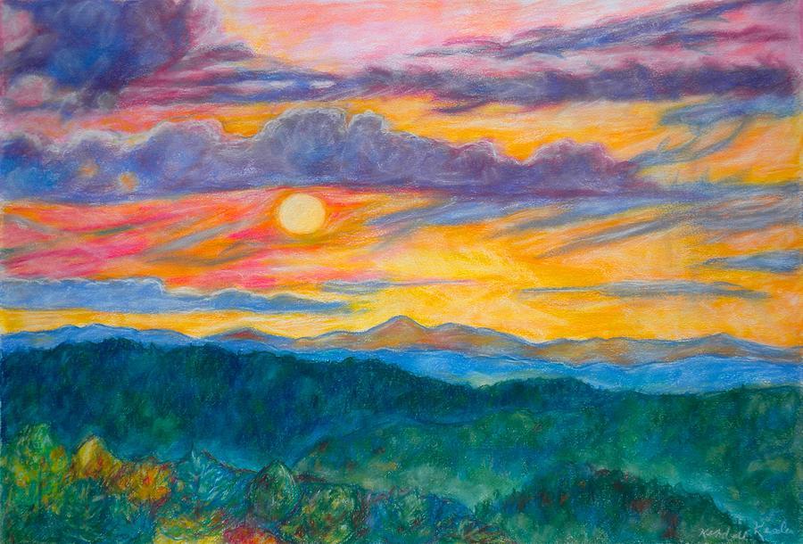 Landscape Painting - Golden Blue Ridge Sunset by Kendall Kessler