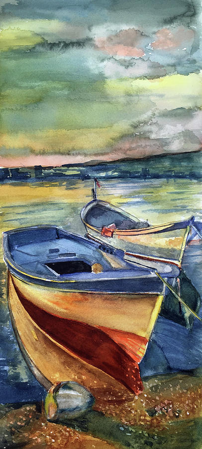 Boats Painting - Golden Boats by Lynne Atwood