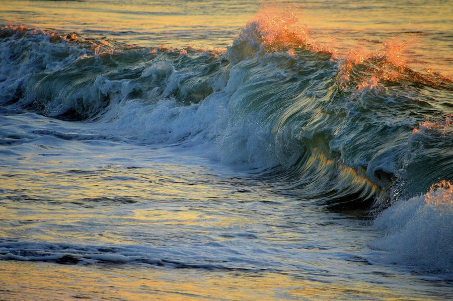 Ocean Photograph - Golden Breakers by Dianne Cowen