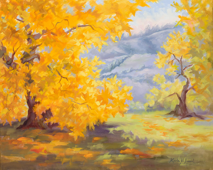 Golden Sycamore Painting - Golden California Sycamores by Karin Leonard