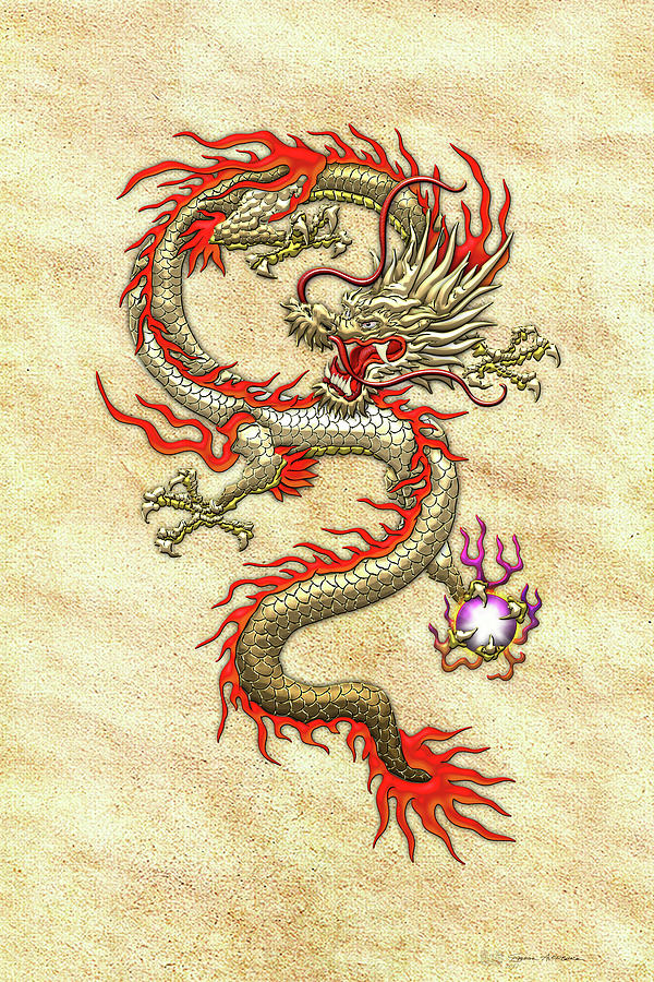 golden chinese dragon fucanglong on rice paper digital art by serge