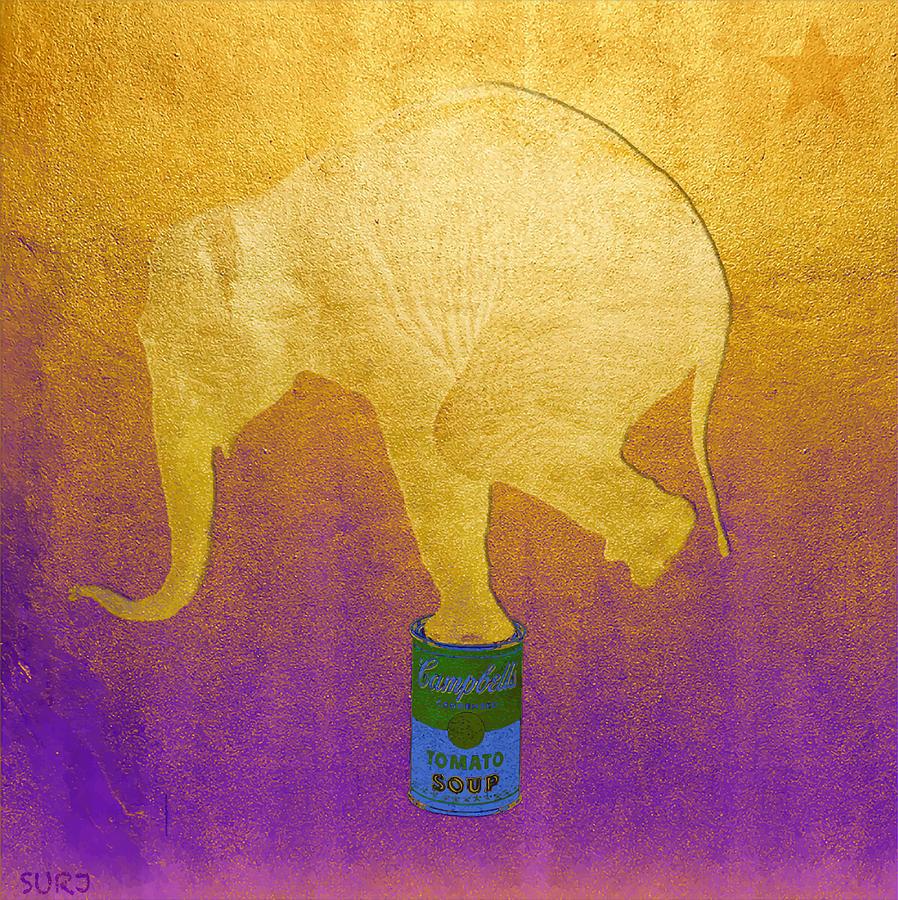 Elephant Mixed Media - Golden Circus by Surj LA