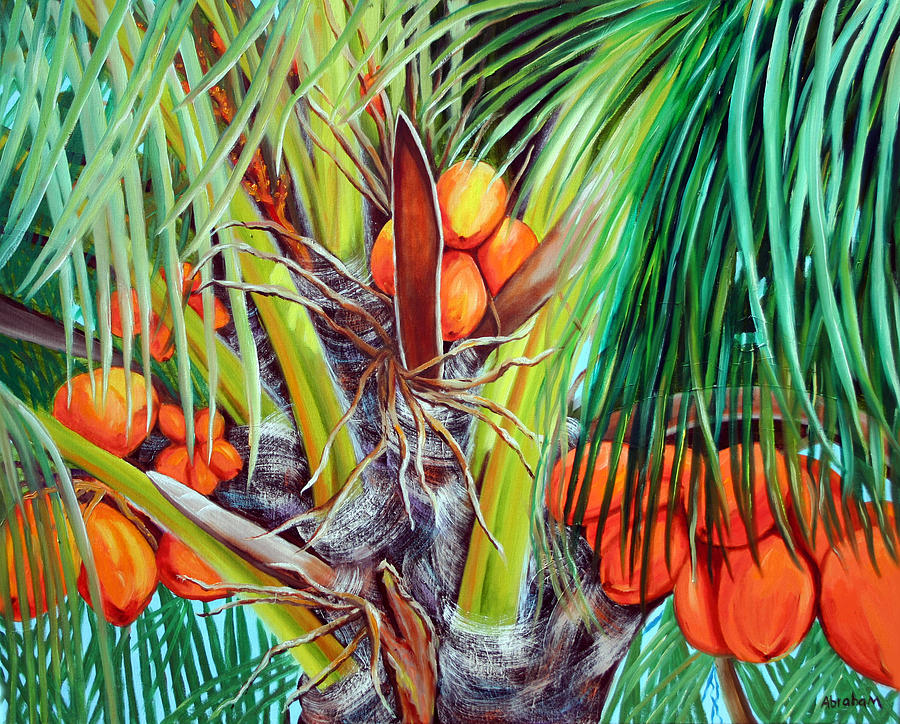 Coconuts Painting - Golden Coconuts by Jose Manuel Abraham