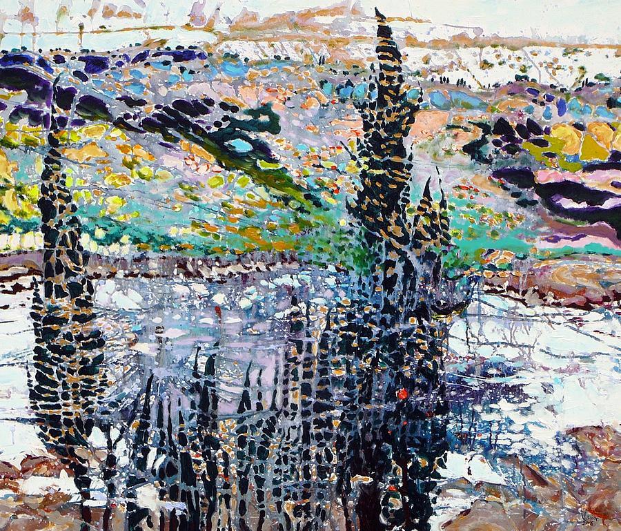 Landscape Painting - Golden Cypresss by Vukovic  Davor