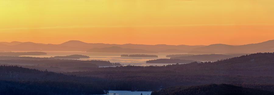 Mist Photograph - Golden Dawn Over Squam And Winnipesaukee by Sebastien Coursol