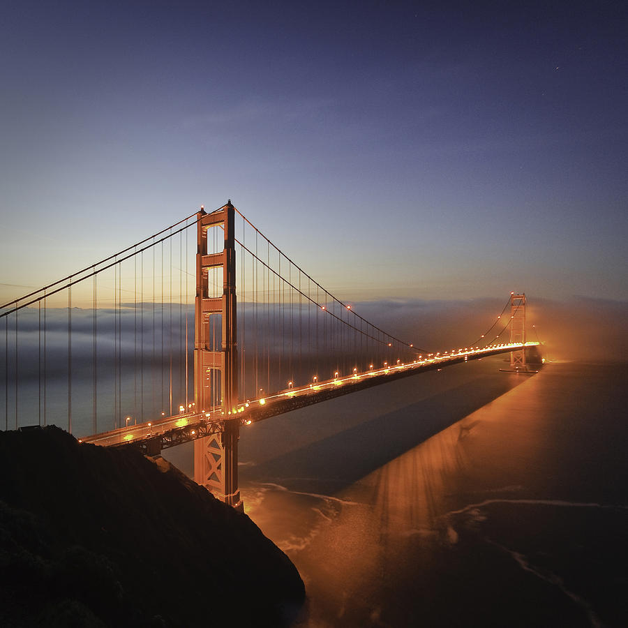Dawn Photograph - Dawn over the Golden Gate by Nathan Spotts