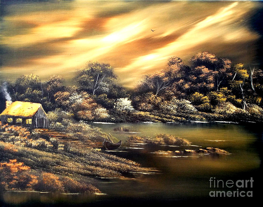 Gold Painting - Golden Daze.sold by Cynthia Adams
