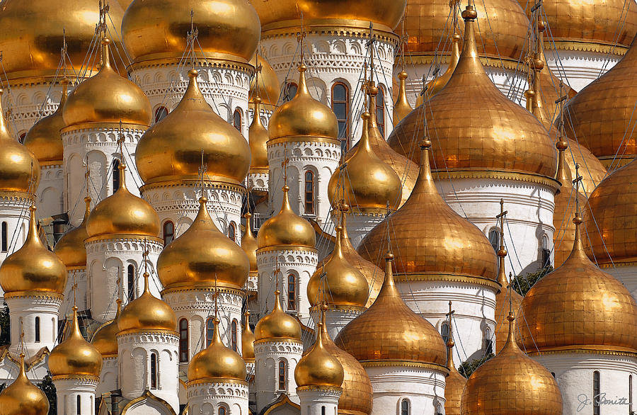 Onion Dome Church Digital Art - Golden Domes by Joe Bonita