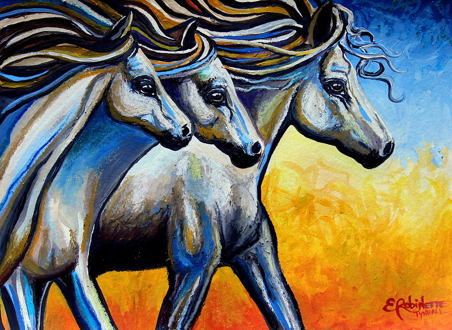 Horse Painting - Golden Embers by Elizabeth Robinette Tyndall