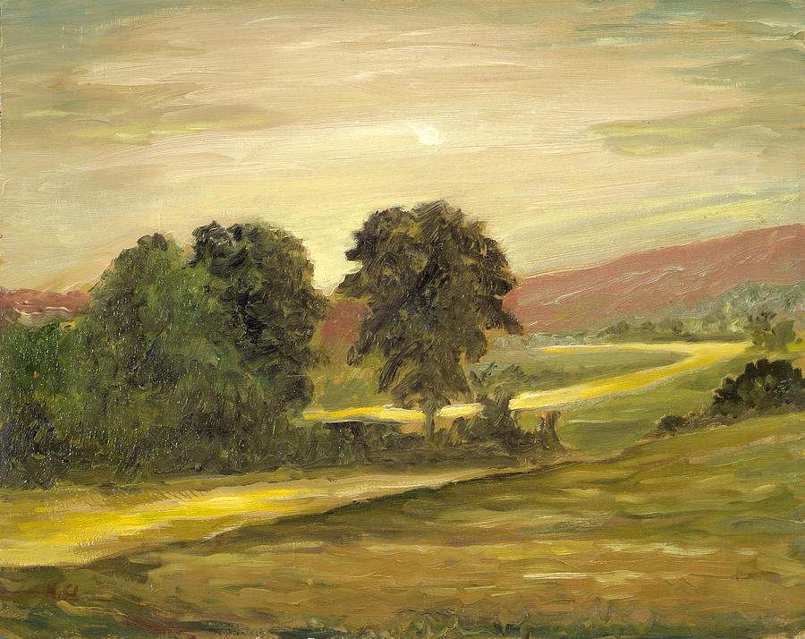 Landscape Painting - Golden End Of The Day by Michael Scherer