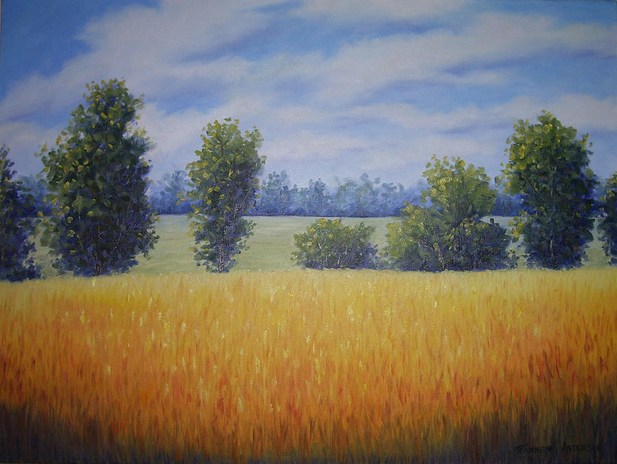 Gold Painting - Golden Fields by Jeannene Anderson