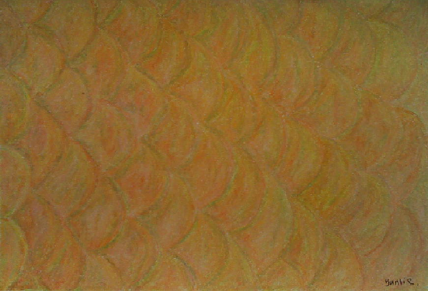 Oil Pastel Painting - Golden Fish by Yantie