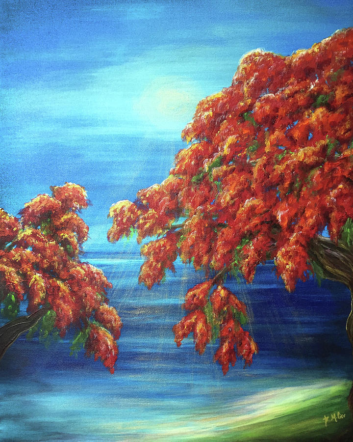 Flame Tree Painting - Golden Flame Tree by Michelle Pier