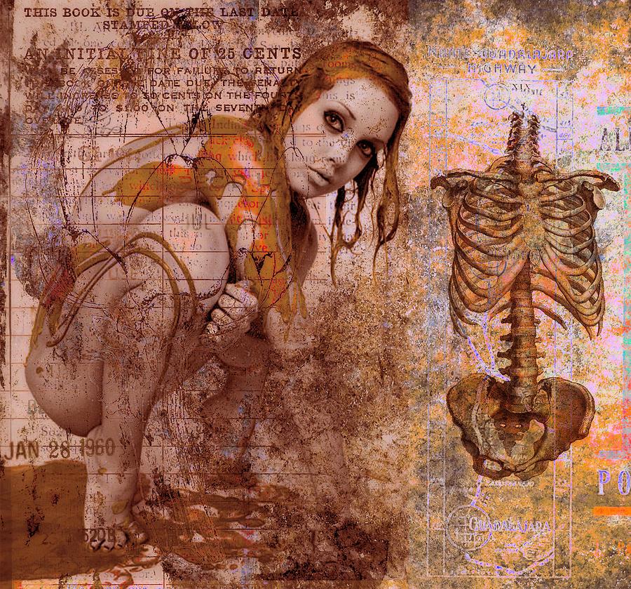 Spine Digital Art - Golden Fluid by Adam Kissel