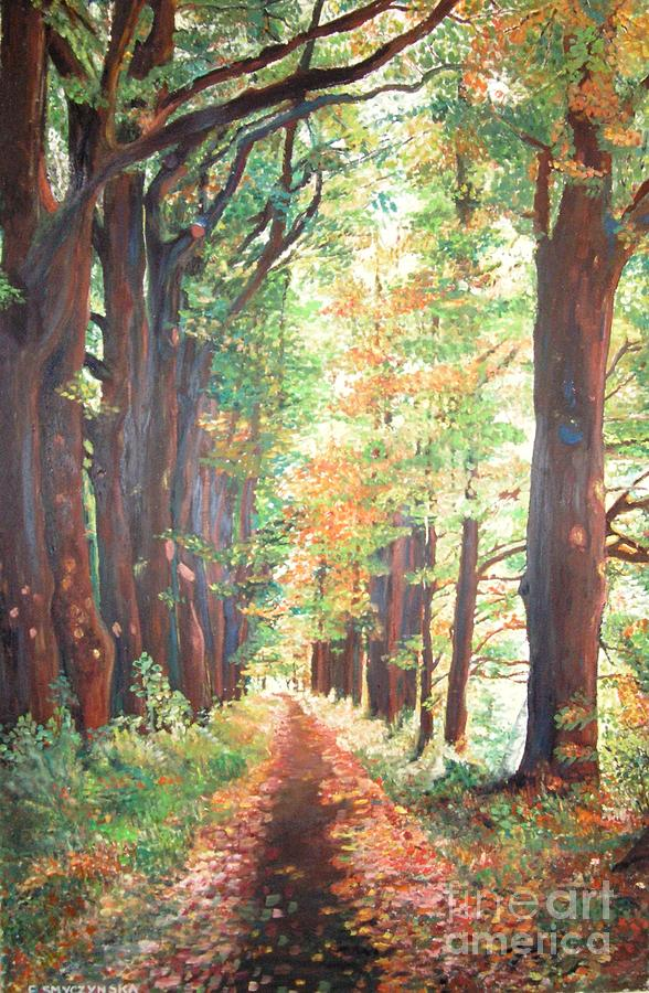Golden Forest Painting by Ewa  Smyczynska Beyond Gallery Cafe of Kathlin Austin