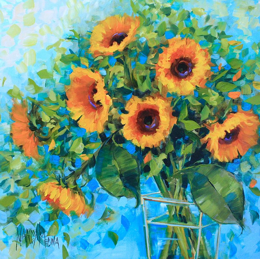 golden garden sunflowers painting by nancy medina - Golden Garden