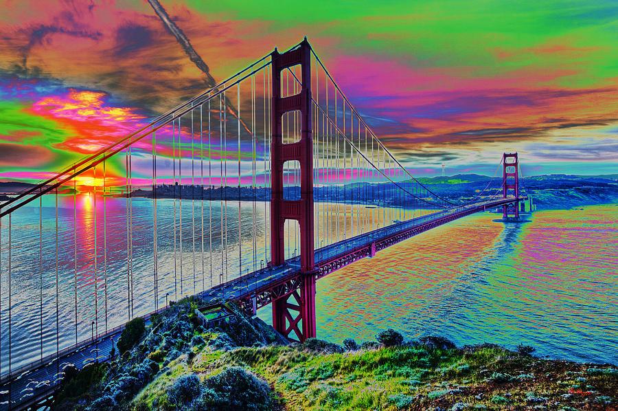 Water Digital Art - Golden Gate 1 by Gregory Murray