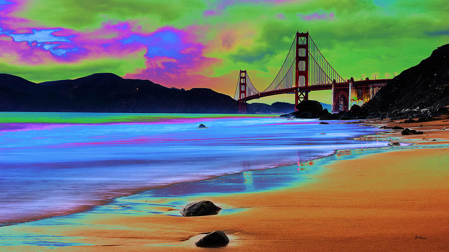 Water Digital Art - Golden Gate 2 by Gregory Murray