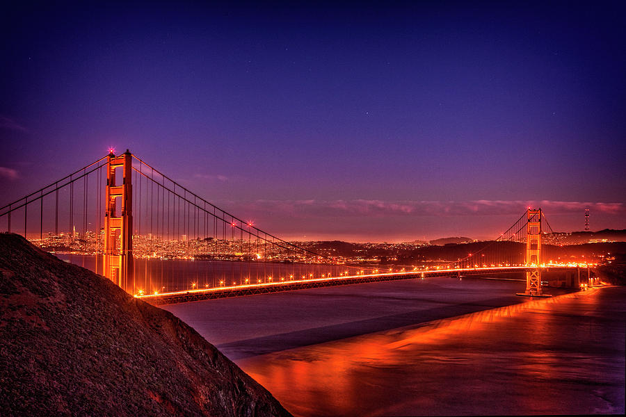 Afternoon Photograph - Golden Gate At Dusk by Diana Powell
