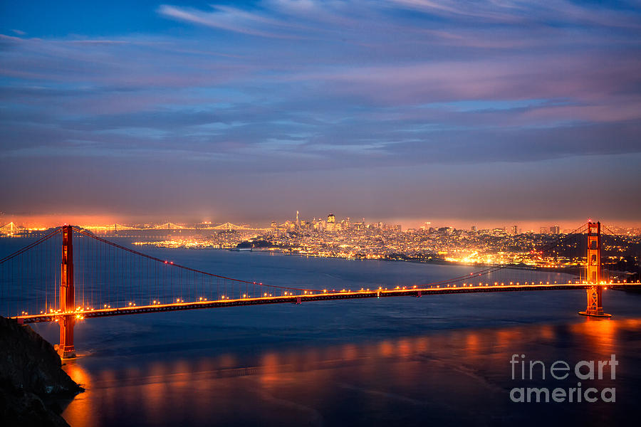GOLDEN GATE at NIGHT by Alice Cahill