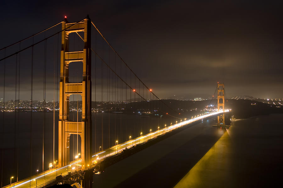 Golden Gate Bridge Photograph - Golden Gate At Night by Mike Irwin