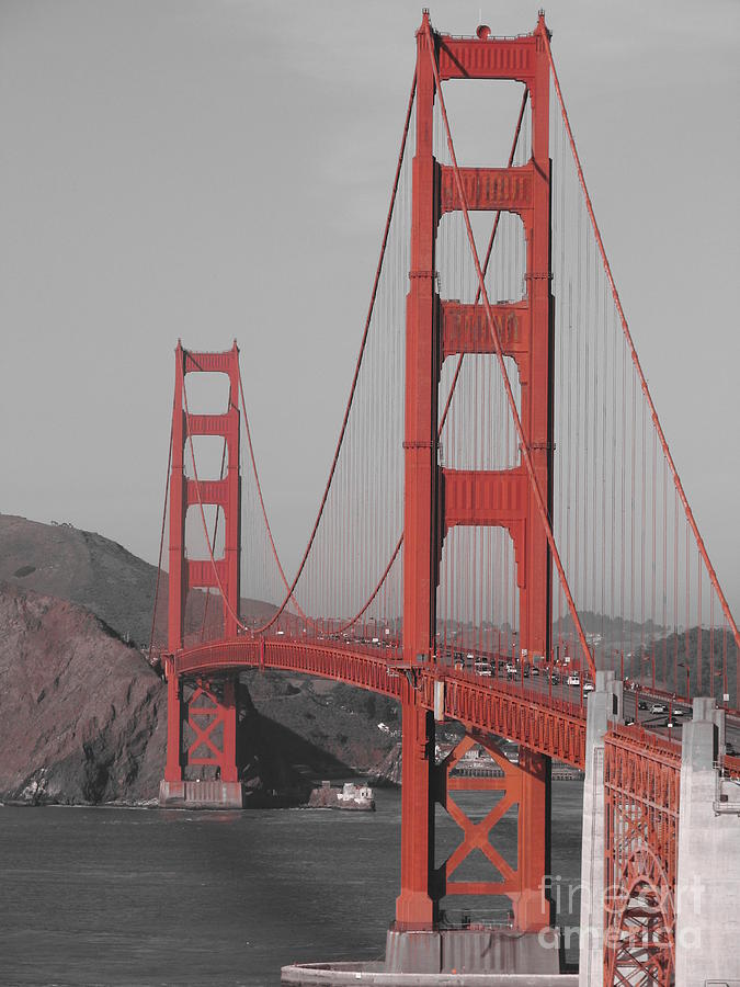 Golden Gate Photograph - Golden Gate Black And White by Jeff White