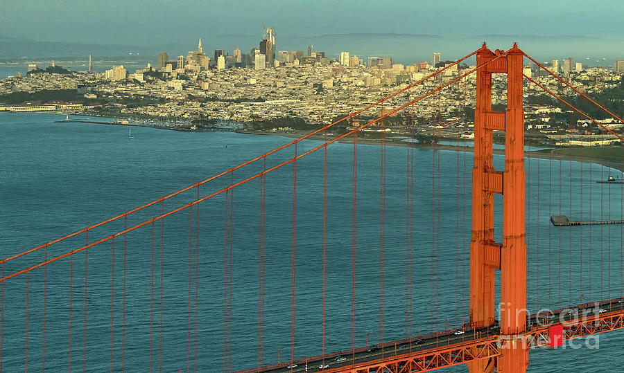 San Francisco Bay Photograph - Golden Gate Bridge And San Francisco Skyline by David Oppenheimer