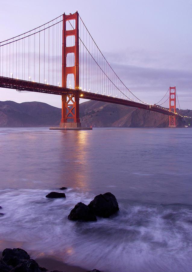 Golden Gate Photograph - Golden Gate Bridge At Dusk by Mathew Lodge