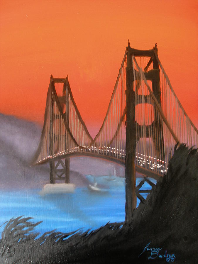 Golden Gate Bridge At Sunset Painting by Dunbars Modern Art