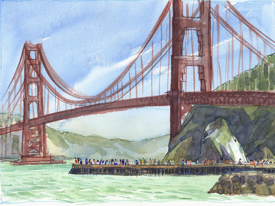 Landscape Painting - Golden Gate Bridge From Fort Baker, Ca by Judith Kunzle