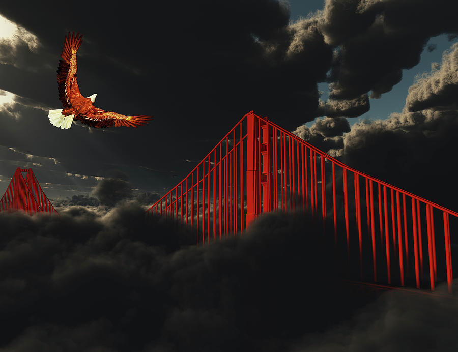 Gate Digital Art - Golden Gate Bridge In Heavy Fog Clouds With Eagle by Bruce Rolff