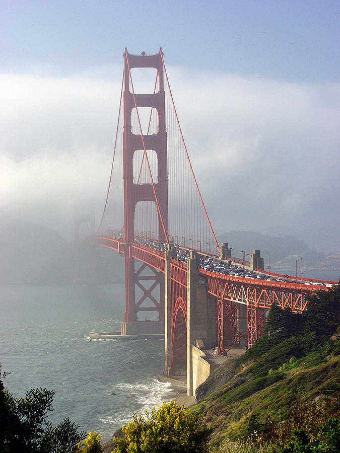Golden Gate Photograph - Golden Gate Bridge In The Fog by Mathew Lodge