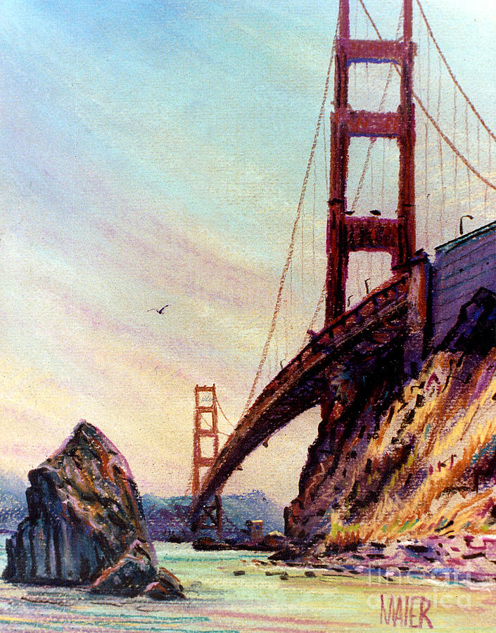 Golden Gate Bridge Painting - Golden Gate Bridge Looking South by Donald Maier