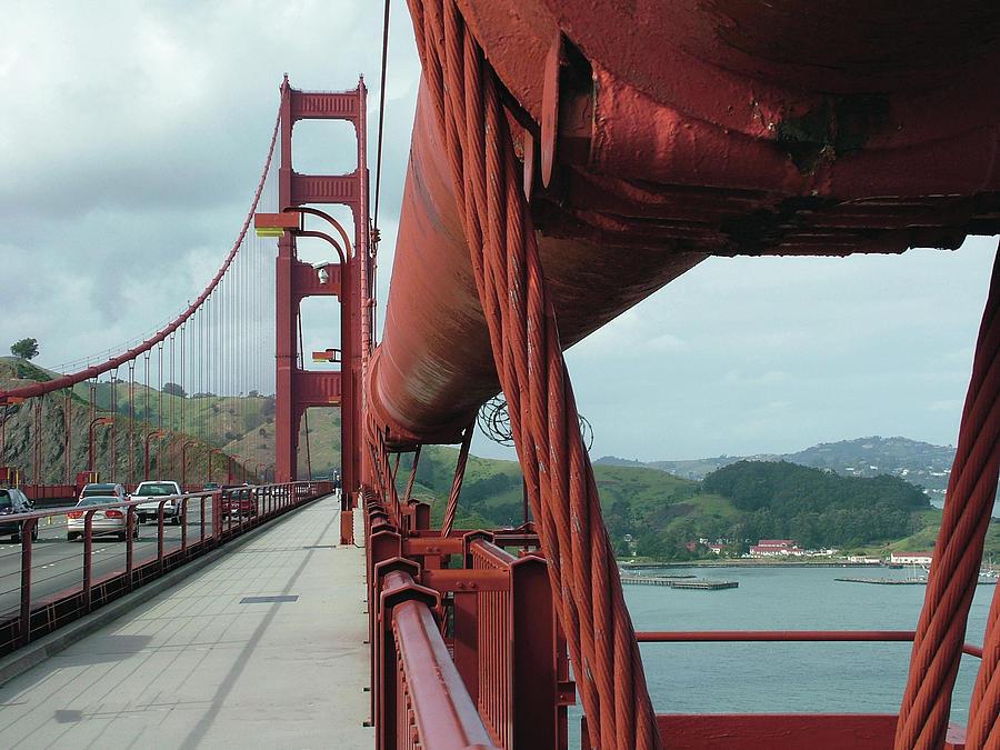 Golden Gate Bridge Photograph - Golden Gate Bridge Low Point Of Cable by William Bitman