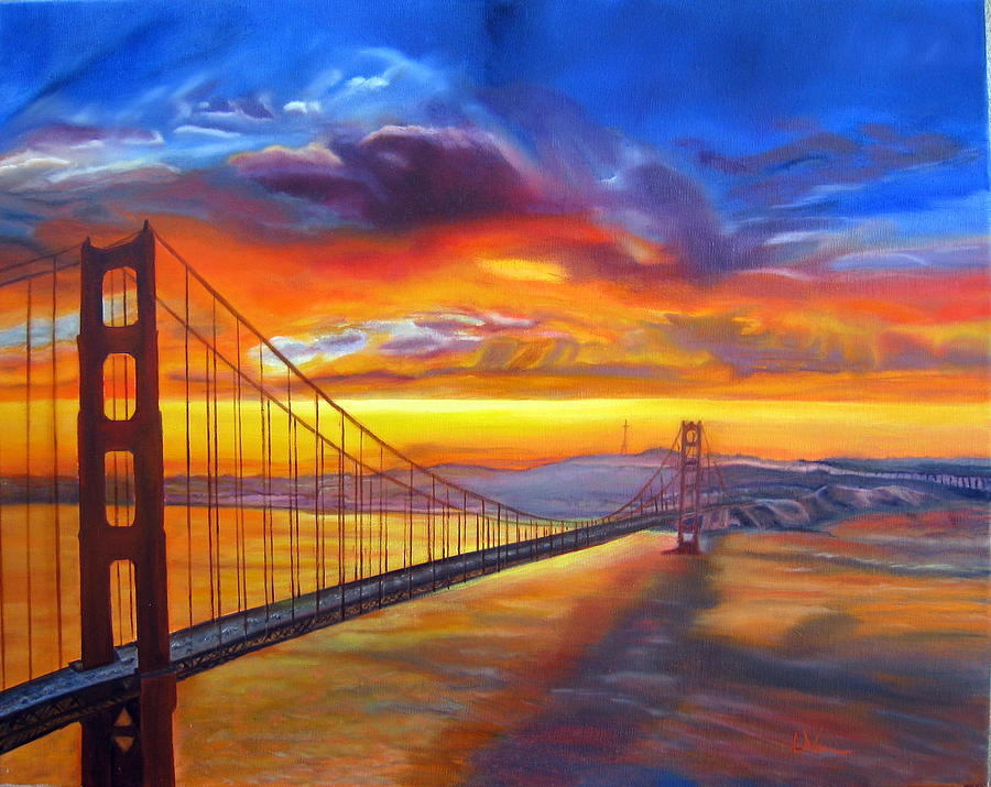 Golden Gate Bridge Sunset Painting By LaVonne Hand