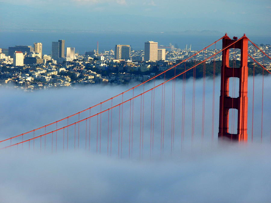Golden gate bridge tower in sunshine and fog photograph by for Kitchen cabinets lowes with golden gate wall art