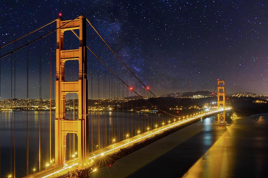 Golden Gate Photograph - Golden Gate Bridge Under The Starry Night Sky by David Gn