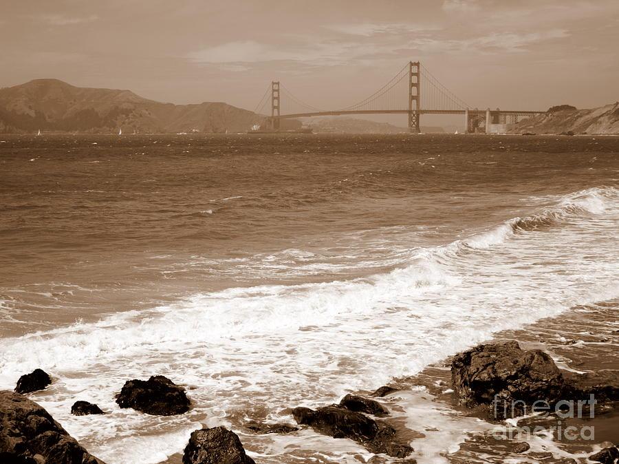 Golden Gate Bridge Photograph - Golden Gate Bridge With Shore - Sepia by Carol Groenen