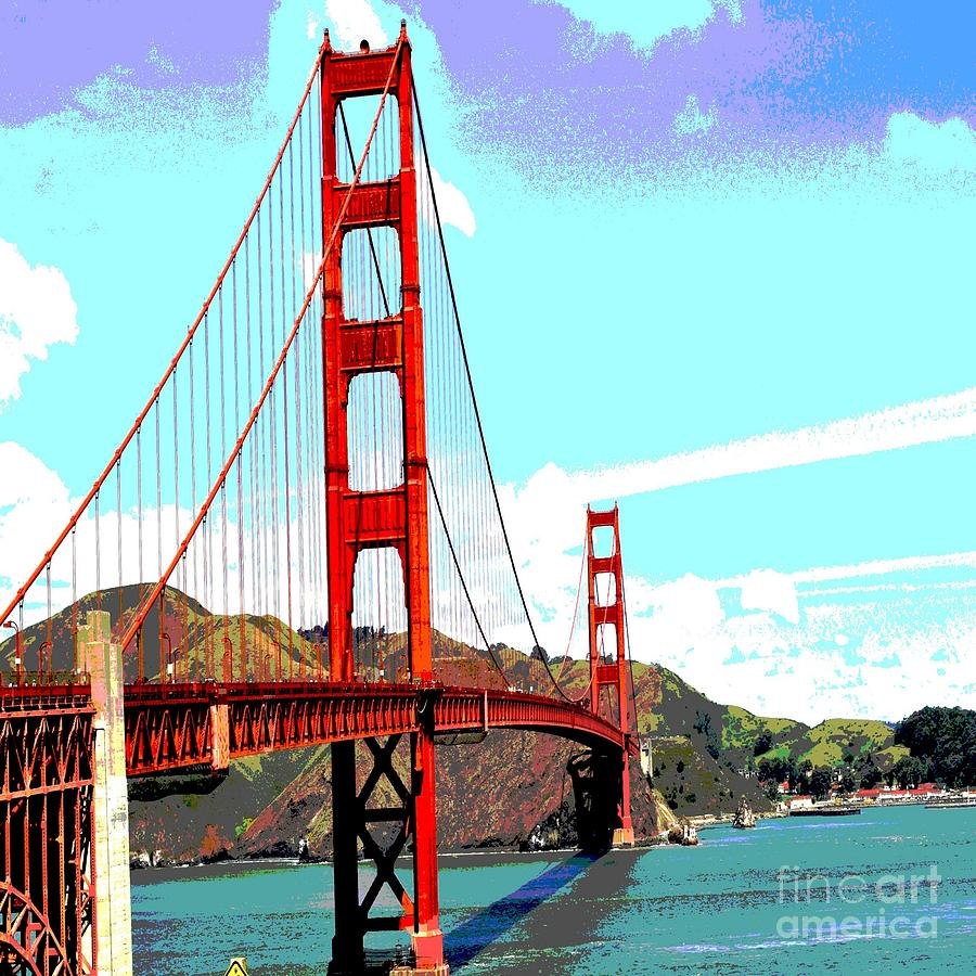 Golden Gate Digital Art - Golden Gate by Eliso Ignacio Silva Simancas