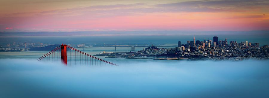 Horizontal Photograph - Golden Gate Foggy At Morning by Mark Brodkin Photography